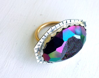 Peacock Druzy Cocktail Ring One of a Kind and Handmade by Rachel Pfeffer