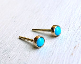Tiny Turquoise Studs in 14k Yellow Gold