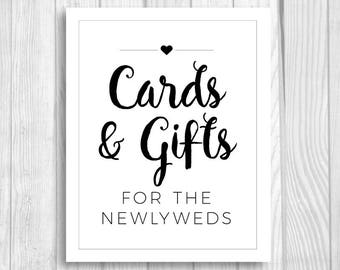 Cards and Gifts for the Newlyweds 8x10 Printable Black and White Wedding Sign - Gift Table Sign - Card Box Sign - Instant Download