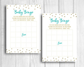 Baby Shower Bingo 5x7 Printable Bridal Shower Party Game - Pool Blue/Spa Blue and Gold Glitter Polka Dots - Instant Download