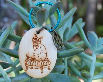 Wood Keychain Cheshire Cat Keychain Wooden Keychain Alice in Wonderland Keychain Keyring