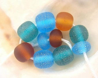 10 Silvered Etched Handmade Lampwork Beads