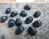 SALE 30% Off Blue Confetti Vintage Harlequin Glass Opal 8x6mm Oval Glass 12 Pcs