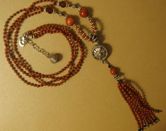 Hand knotted semi precious red jasper, faceted Baltic Amber and Bali sterling silver long necklace