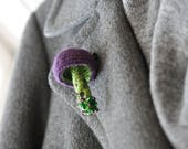 Beaded mushroom crochet brooch  - whimsical jewelry