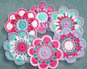 6 handmade cotton thread crochet applique flowers -- 2630