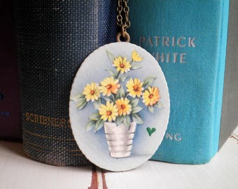 Vintage Flower Pot Pendant - 1940s Era Floral Greeting Card / Paper Ephemera Potted Plant & Tiny Heart Long Chain Necklace Jewelry Gift