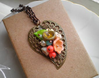 Floral Filigree Leaf Necklace - Wire Wrapped Czech Glass Flowers Beaded Pendant - Secret Garden Flower Collage Necklace Jewelry Gift For Her