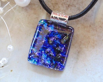 PETITE Necklace, Blue, Purple, Aqua, Glass Pendant, Fused Glass Jewelry, Necklace Included, A12