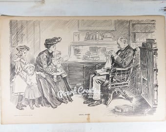 "Charles Dana Gibson print 1906 Legal Advice/Lawyer & Brothers 2 sided 11"" x 17"""