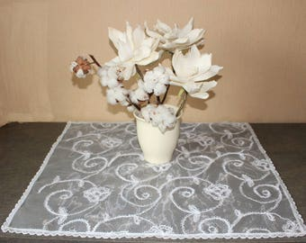 "White wedding decorative small table cloth  23,5""x 25,5"", ready to ship"