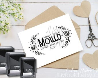 0418 Self Inking JLMould Handwriting Flower Calligraphy Script Family Last Name Custom Rubber Stamp Personalized Stationery Wedding