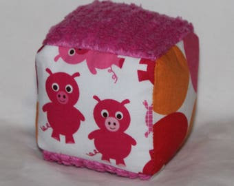 Small Pink Pigs Chenille Fabric Block Rattle