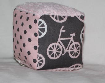 Small Pink Bicycles Fabric Block Rattle Toy