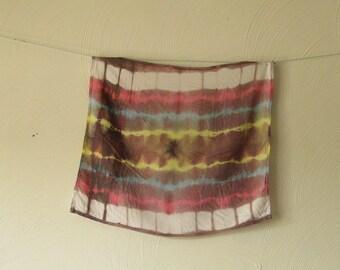 Shibori, Viscose Rayon, Brown, White, Pink, Yellow and Blue Scarf