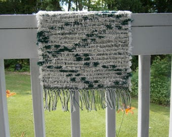 Hand Woven Green and Off-white Placemat or Doily