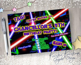 Laser Tag Birthday Invitation / laser tag themed party  /Digital Design  / Printable