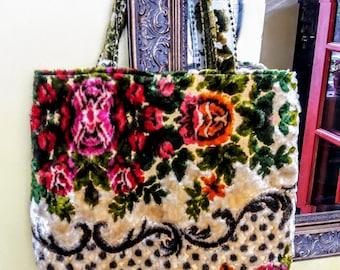 Vintage Floral Italian Velvet Tote Bag vintage velvet handmade purse carpet bag