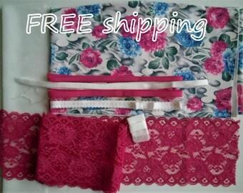 FREE Ship DIY Bra Kit FIRM Pink Blue Flowers & Pink Relief by Merckwaerdigh