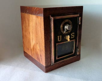 Knotty Maple Wood Bank Vintage Lacquer Bronze US Post Office Mail Box Door Mail Man Groomsman 5th 7th 8th Anniversary Retirement Combination