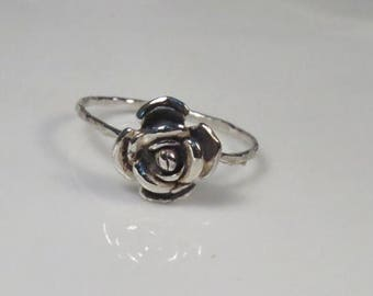 SALE - Rose engagement ring sterling silver, Silver rose ring, stackable ring, Skinny ring