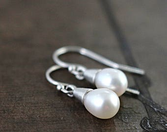 Pearl earrings, Sterling Silver, white oval pearl drops