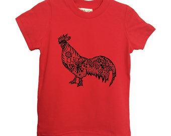 Red Rooster Kids Tshirt American Apparel Cotton Sizes 2-4-6 Children Tee Clothing