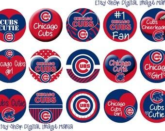 MLB Chicago Cubs Charm - 1 inch circle - Custom Created