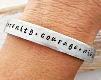 Serenity Prayer cuff bracelet - serenity - courage - wisdom - wide aluminum bracelet - gift for her - daily reminder - Christmas gift