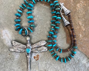 Genuine turquoise long necklace with large turquoise embellished dragonfly pendant