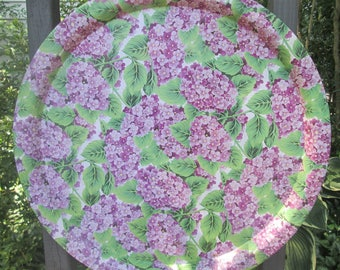 Large Vintage Tin Tray - Round Tin Serving Tray - Lavender and Green Floral Tray