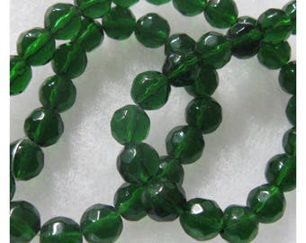46 Green Color Glass Beads 8mm Faceted Round  Beads Jewelry Craft Beads