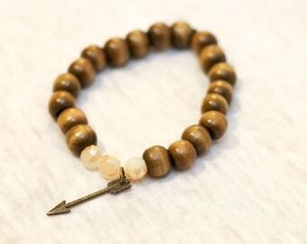 Arrow bracelet, wood bead bracelet, stack jewelry, stack bracelet, boho bracelet, arrow charm, arrow charm bracelet, boho stack bracelet
