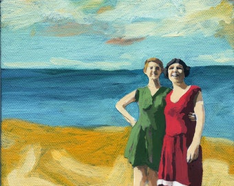 WOMEN on the BEACH print from original oil painting