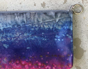 silver sunset soft leather clutch