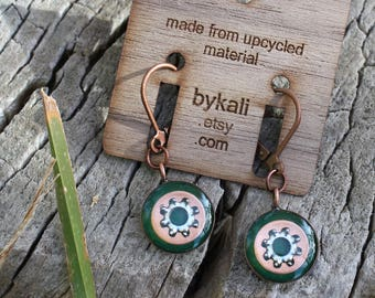 little copper and lock washer earrings in emerald green
