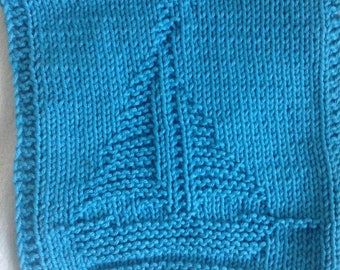 PATTERN - dishcloth / washcloth knitting pattern - Boat