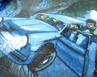 Harry Potter fabric - RARE - 2001 - Flannel - Escape the Dursleys - flying car - bed sheet set - blue - Chamber of Secrets