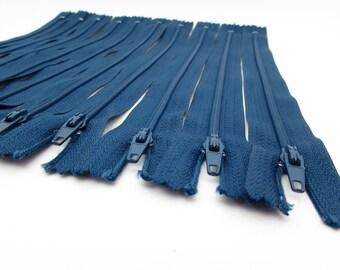 10 Zippers - 9 inch - Dark Teal - Blue - destash - Zipper Lot - nylon