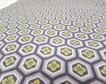 modern Cotton Fabric Yardage - hexagons - honeycomb - purple - yellow flowers - quilting - sewing - floral