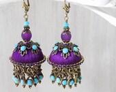 Gypsy earrings, Tassel earrings, purple earrings, purple jewelry, unique earrings, gift woman, jhumki purple, jhumka turquoise, boho jewelry