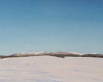 """Large Landscape Oil Painting Minimalist National Park White Snow Mountain Quebec Canada By Fournier """" Winter At Mount Megantic """" 24"""" x 36"""""""