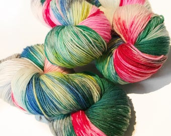 Hand-dyed yarn, Indie dyed yarn, hand dyed yarn THE NUTCRACKER SUITE-- dyed to order -- Staten Island Ferry merino/ nylon sock yarn