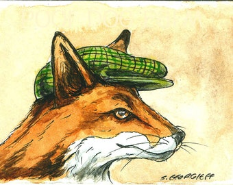 A Dapper Red Fox in a Hat - Original ACEO Painting