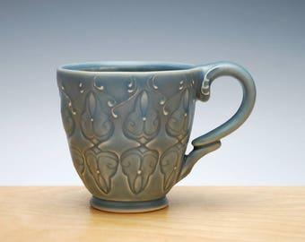 Cornflower blue mug, Victorian modern stamped mug
