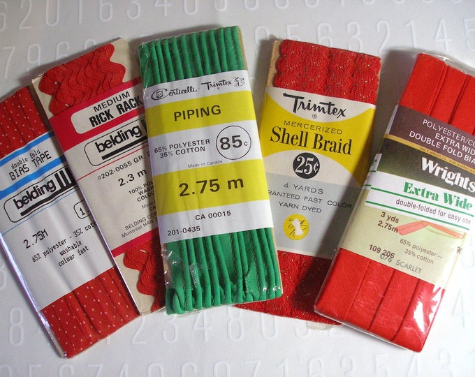 Red Green Trim Holiday Christmas Craft Sewing supplies Trimtex Wrights Corticelli for lot Approx 11 yards total