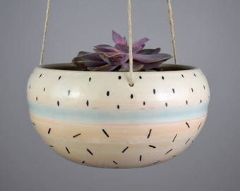 Large Hanging Planter with Dots and Dash Pattern / Blush Pink Indoor Planter / Large Ceramic Plant Pot / Ready to Ship