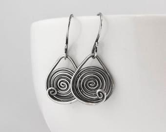 Valentine's gift, Spiral oxidized sterling silver dangle earrings, drop earrings, circle earrings, signature design earrings