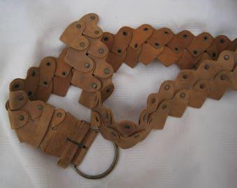 Vintage 90's Leather Hearts belt Hearts belt Tan leather belt
