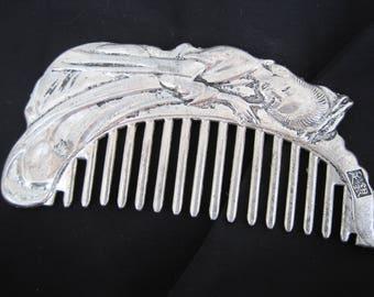 Tibeten Silver Hair Comb, Vintage comb, Asian Comb, Hair Clip